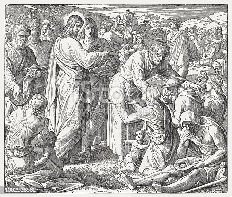 The Feeding of the Five Thousand (John 6, 1- 15). Wood engraving after a drawing (ca. 1855/60) by Julius Schnorr von Carolsfeld (German painter, 1794 - 1872), published in 1890.
