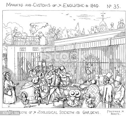 """Fascinated crowd watching the animals being fed at the Zoological Gardens in London. One of a series of comic cartoons of various aspects of English manners, society and customs from """"Manners and Customs of Ye Englyshe - Mr Pips hys Diary"""" drawn by Richard Doyle. Published by Bradbury & Evans, London, 1849."""