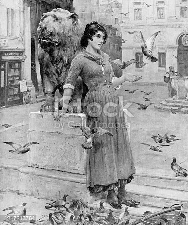 Feeding the Pigeons by Henry Bacon (circa 19th century). Vintage etching circa late 19th century.