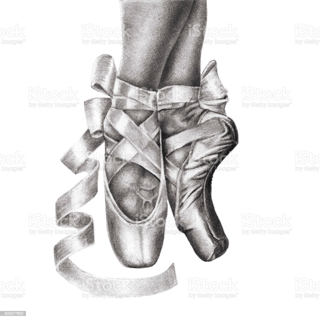 Feet in shoes of ballet class pencil drawing royalty free feet in shoes of
