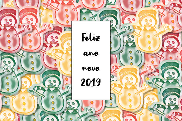 Feliz ano novo 2019 card (Happy New Year in portuguese) with colored snowman as a background Feliz ano novo 2019 card (Happy New Year in portuguese) with colored snowman as a background ano novo stock illustrations