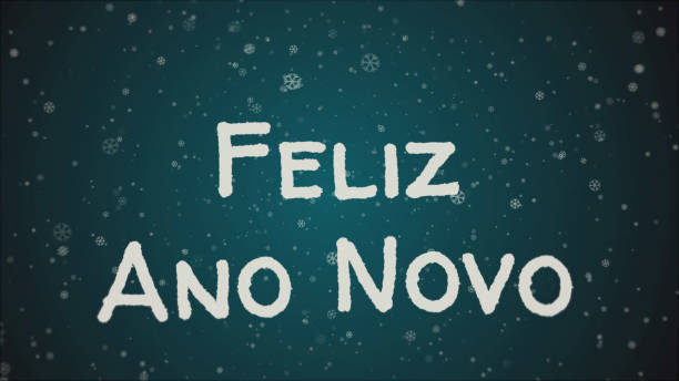 Feliz Ano Novo - Happy New Year in portuguese language, greeting card Feliz Ano Novo - Happy New Year in portuguese language, greeting card, falling snow, blue background ano novo stock illustrations