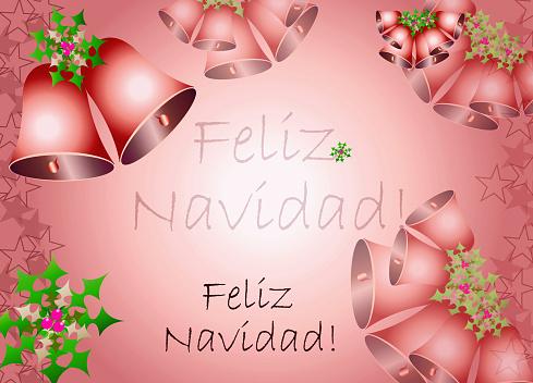 feliz navidad - Christmas card illustration - red theme