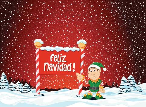 Feliz Navidad Sign Christmas Elf Winter Landscape