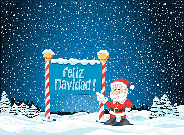 "Feliz Navidad Sign Santa Claus Winter Landscape ""Vector Illustration of a Winter Landscape with a Santa Claus pointing towards a spanish Feliz Navidad sign. For easy editing the pieces are on separate layers: Santa Claus, Sign, landscape, snow, stars, sky. The colors in the .eps-file are ready for print (CMYK). Included files: EPS (v8) and Hi-Res JPG."" cartoon people sign stock illustrations"
