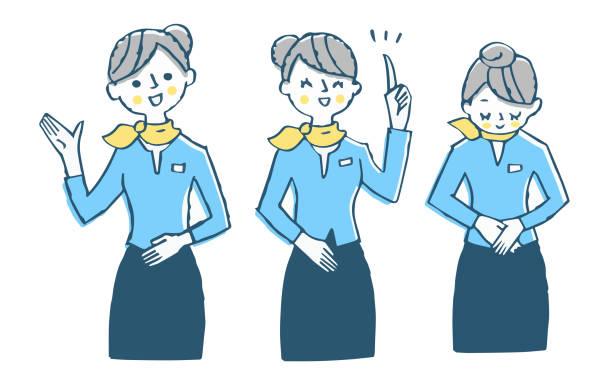 説明する女性3ポーズセット - 客室乗務員点のイラスト素材/クリップアート素材/マンガ素材/アイコン素材