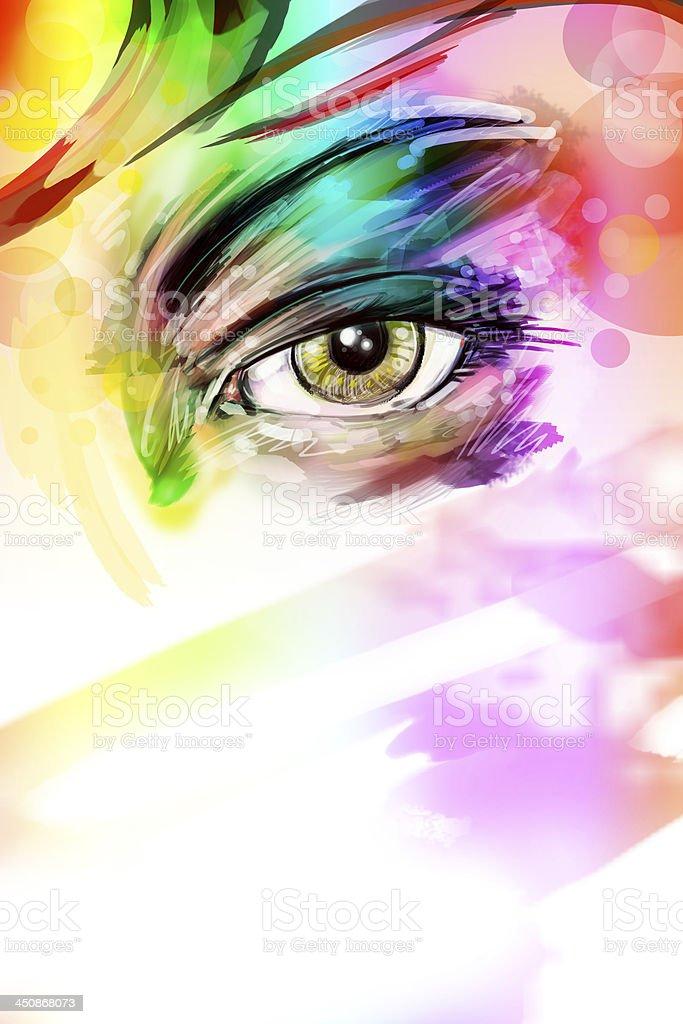 female eye vector art illustration