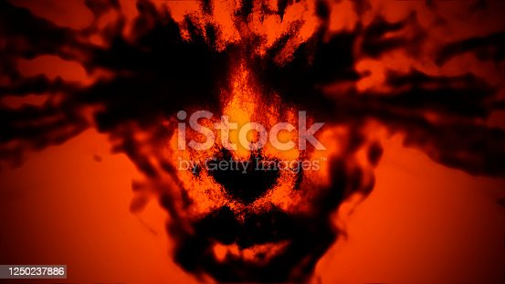 Female face with splashes of blood from the eyes. Illustration in genre of fantasy. Orange background color.