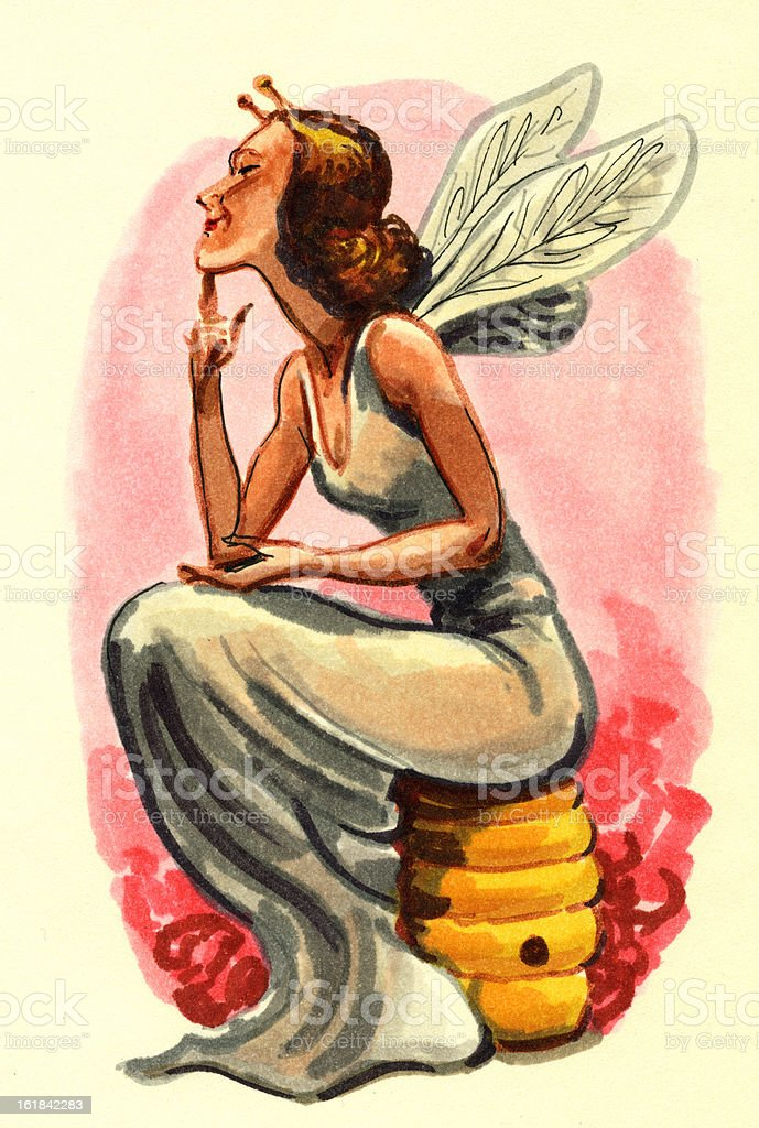 Female Fairy with Wings Sitting on Bee Hive royalty-free stock vector art