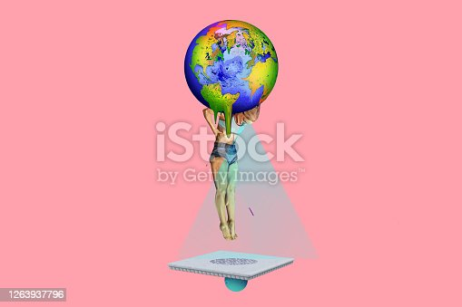 Conceptual image of a female figure holding planet Earth which is melting