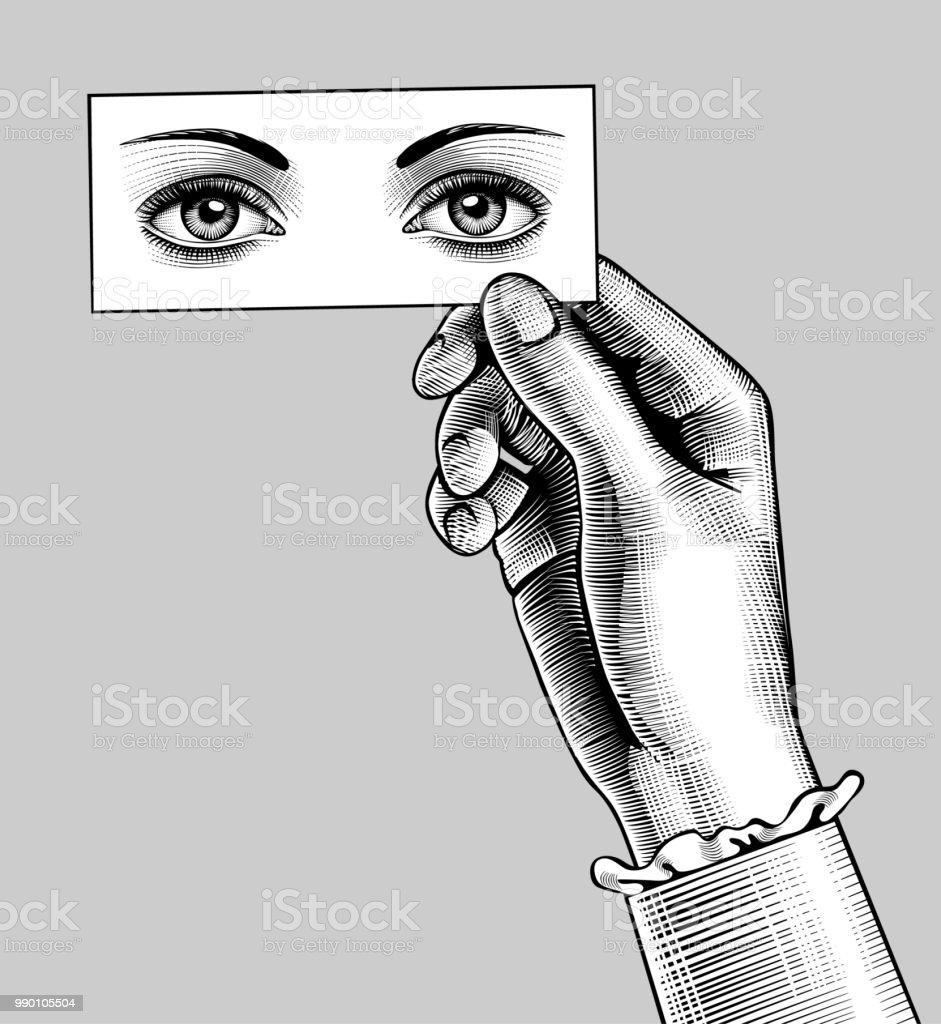 Weibliche Hand Hielt Eine Karte Mit Den Augen Zeichnen Stock Vektor ...