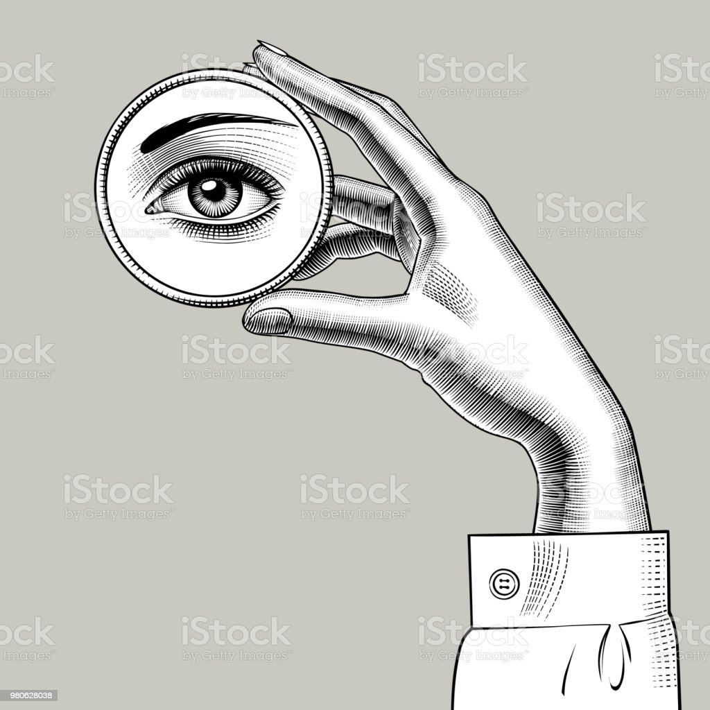 hand holding mirror. Female Hand Holding A Round Small Mirror With Reflection Of Her Eye  Vector Art Illustration