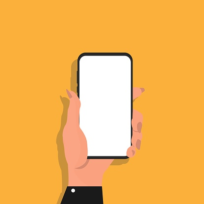 1084491176 istock photo Female Hand Holding Smartphone With Blank Screen, Yellow Background, Illustration 1264269548