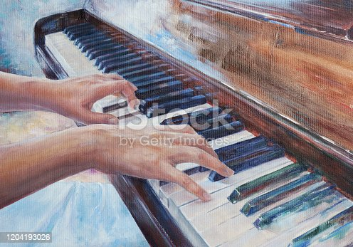 woman playing piano - elegant hands and fingers practicing music at keyboard - oil painting with detailed canvas texture