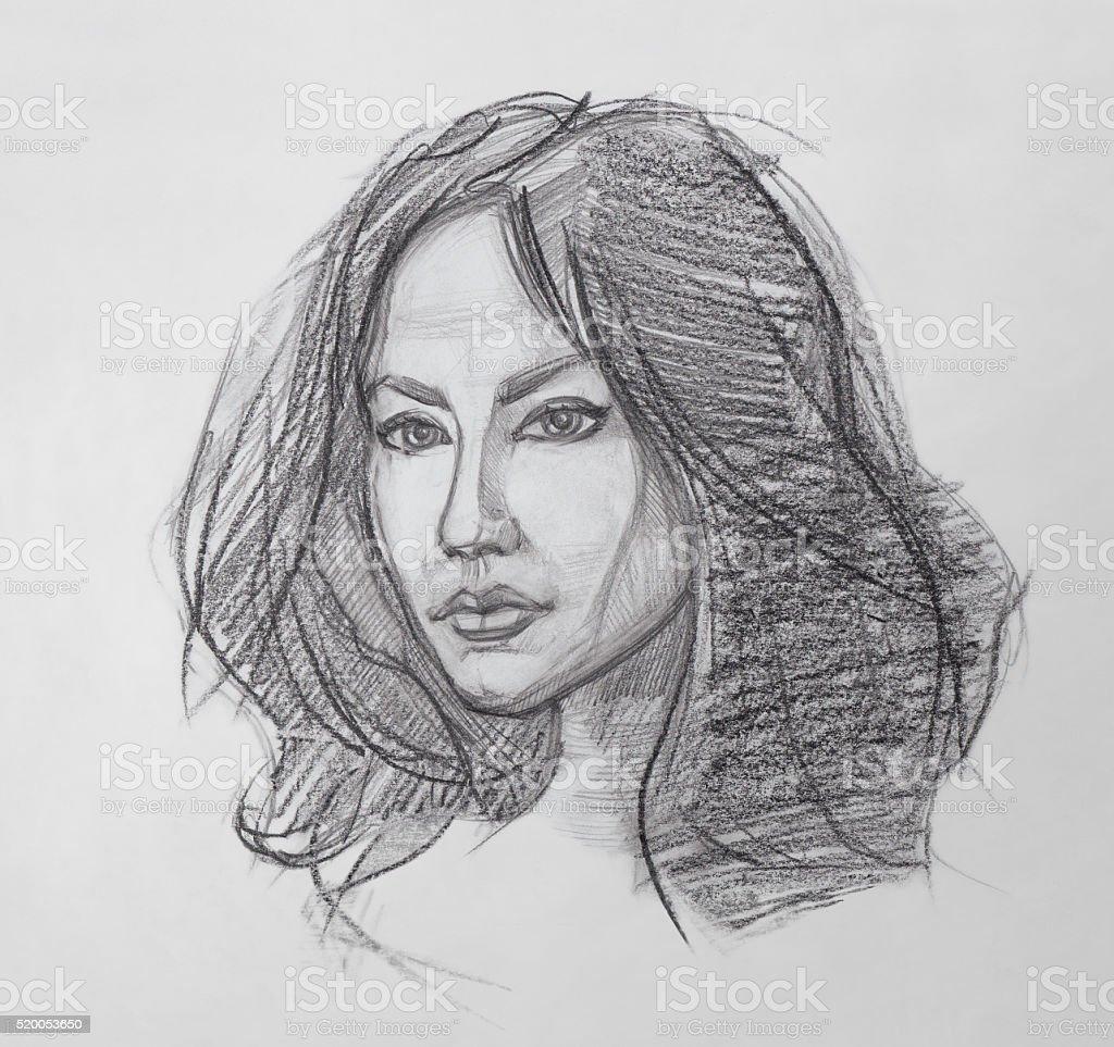 Vetores de retrato de mulher desenho de lápis e mais imagens