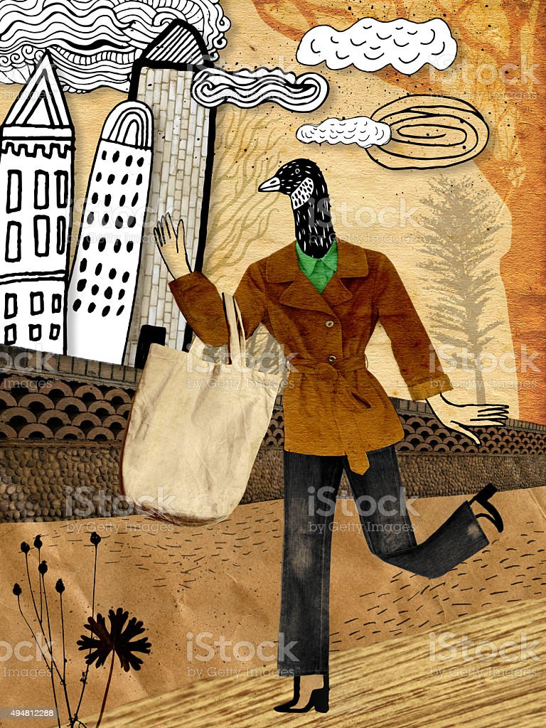 Femme jogging dans la rue mixed media collage - Illustration vectorielle