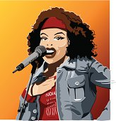 """""""Vector Illustration of a female singer. The background is on a separate layer, so you can use the illustration on your own background. The colors in the .eps and .ai-files are ready for print (CMYK). Included files: EPS (v8), AI (CS2) and Hi-Res JPG."""""""