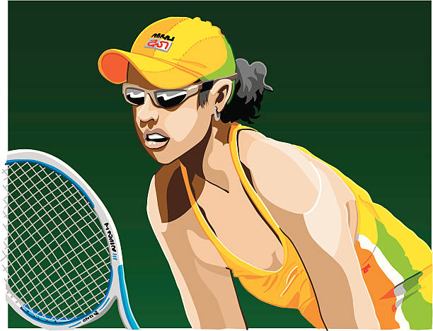 """Female Tennis Player """"Vector Illustration of a female Tennis Player who is waiting for the opponents serve. The background is on a separate layer, so you can use the illustration on your own background. The colors in the .eps and .ai-files are ready for print (CMYK). Included files: EPS (v8), AI (CS2) and Hi-Res JPG."""" tennis stock illustrations"""