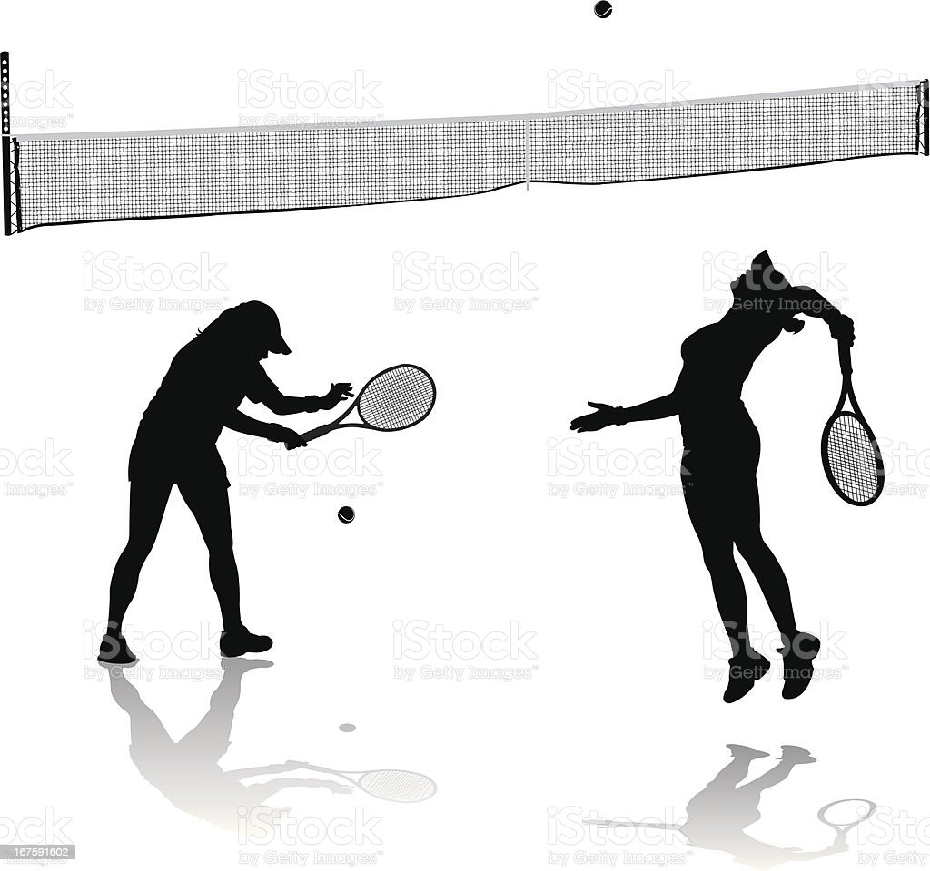 Female Tennis Players Serving and Net vector art illustration