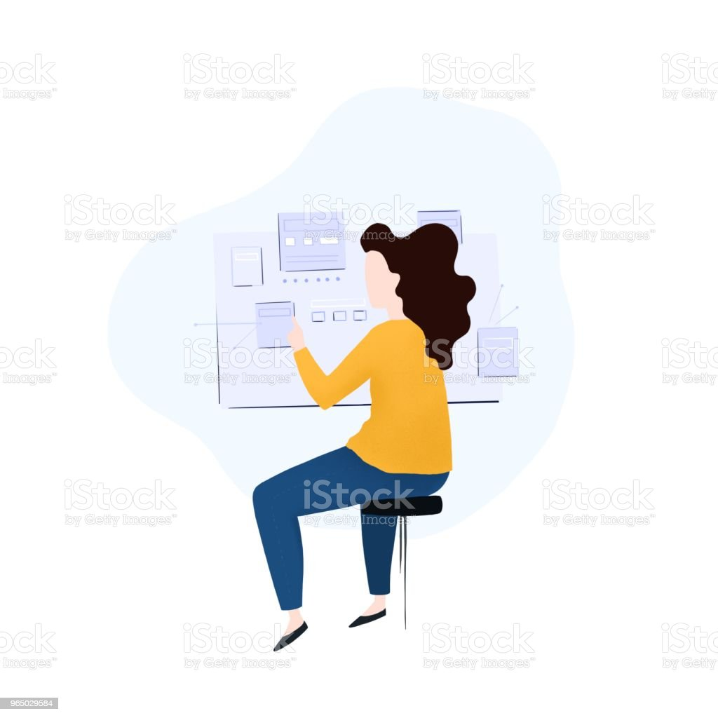 Female ui and ux design, designer royalty-free female ui and ux design designer stock vector art & more images of adult