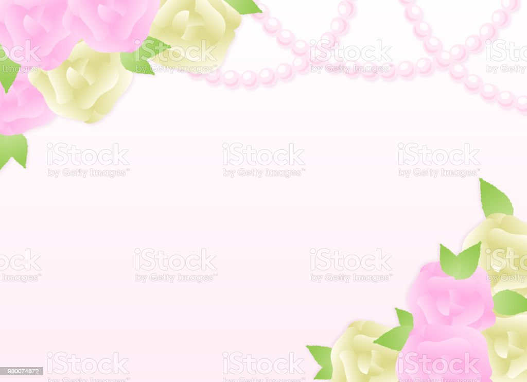 Feminine rose and perl copy space(Lateral direction) vector art illustration