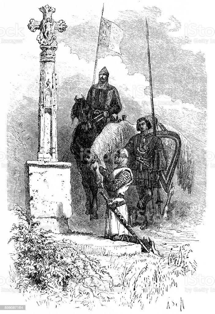 Ferdinand praying in front of a Cross vector art illustration