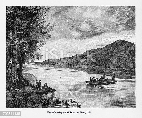 Beautifully Illustrated Antique Engraved Victorian Illustration of Ferry Across the Yellowstone River Victorian Engraving, 1890. Source: Original edition from my own archives. Copyright has expired on this artwork. Digitally restored.