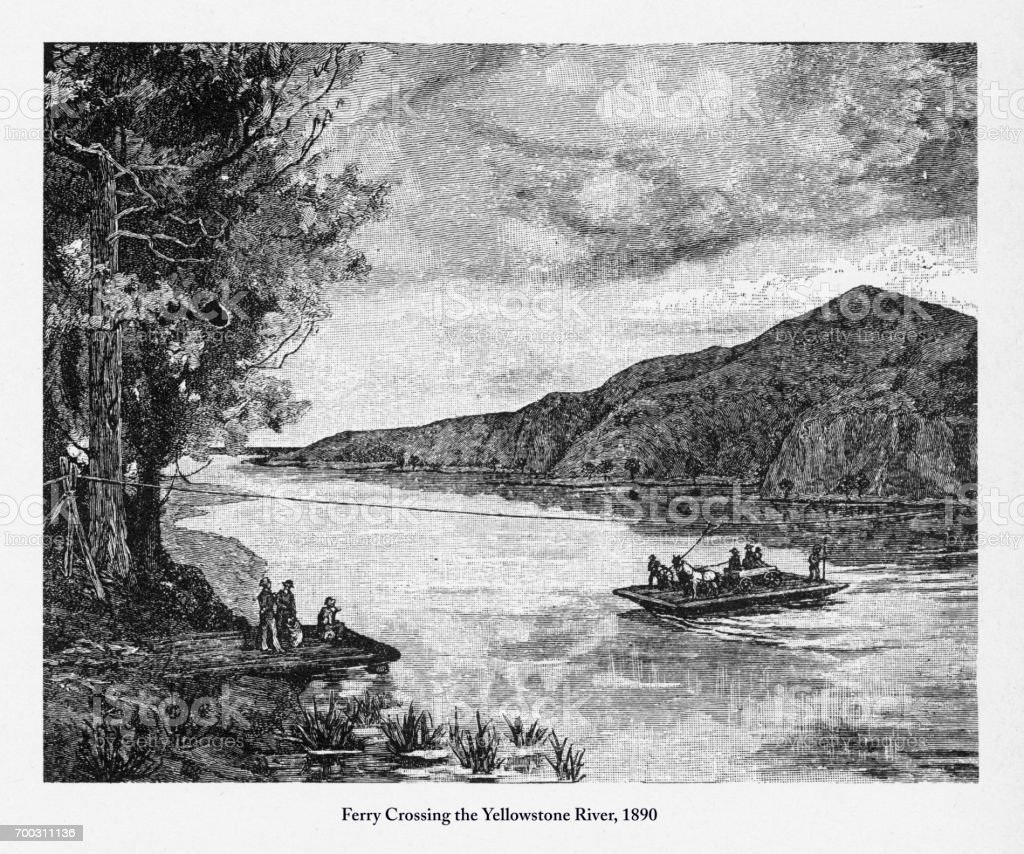 Ferry Across the Yellowstone River Victorian Engraving, 1890 vector art illustration
