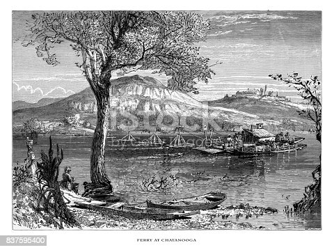 Very Rare, Beautifully Illustrated Antique Engraving of Ferry at Chatanooga on the Tennessee River, Tennessee, United States, American Victorian Engraving, 1872. Source: Original edition from my own archives. Copyright has expired on this artwork. Digitally restored.