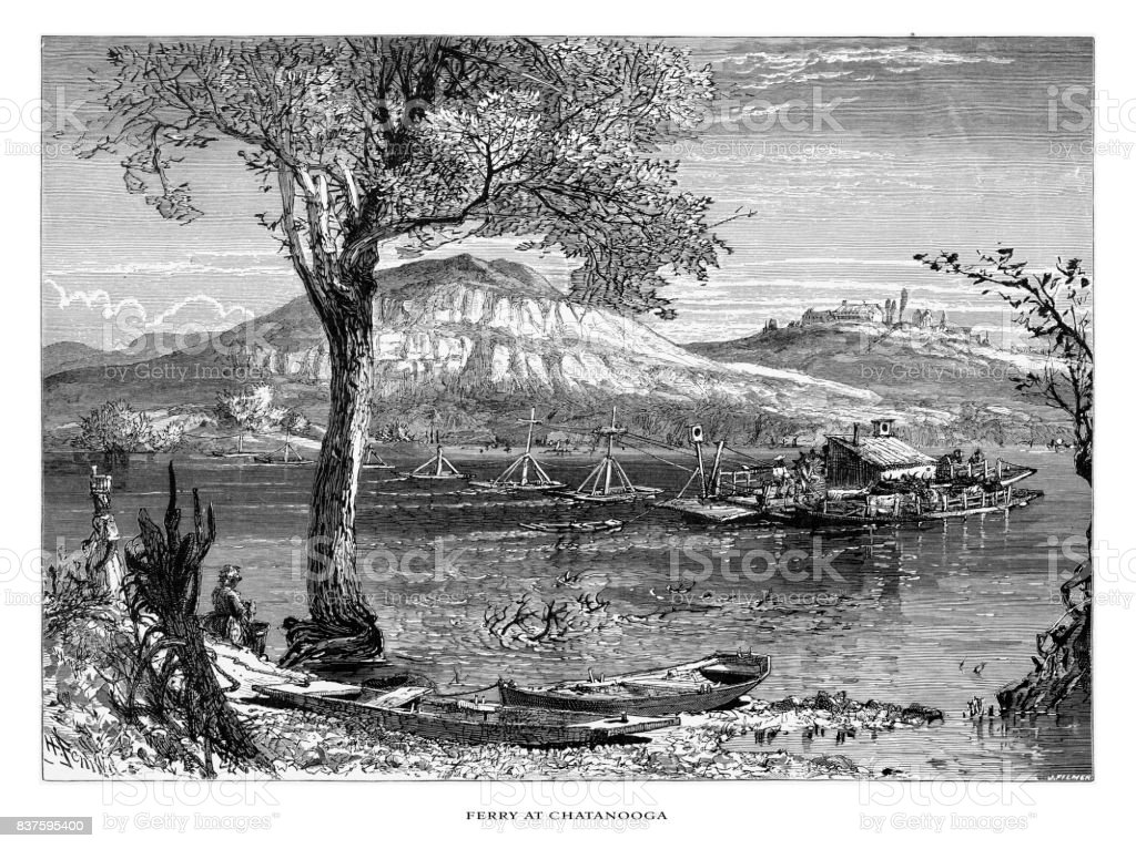 Ferry at Chatanooga on the Tennessee River, Tennessee, United States, American Victorian Engraving, 1872 vector art illustration