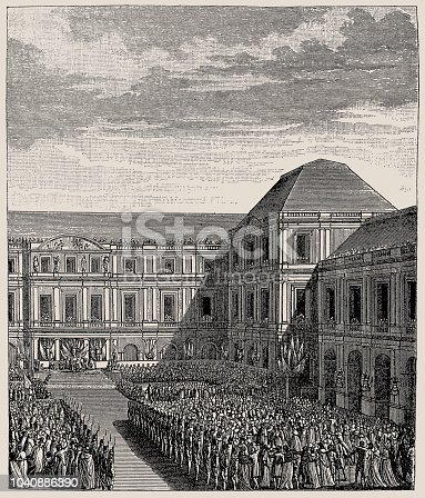 Illustration of a festival celebrating Napoleon Bonaparte at the Palace of the Directoire. Napoleon Bonaparte (1769-1821) a French statesman and military leader during the French Revolution and during the French Revolutionary Wars
