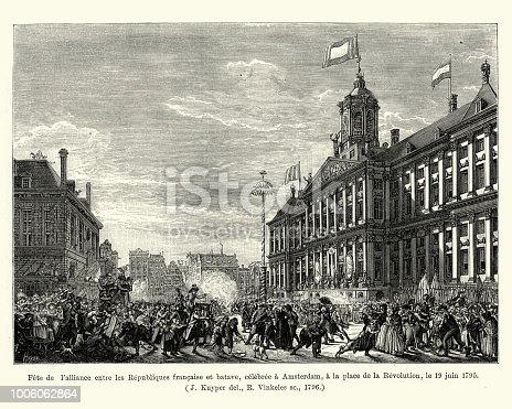 Vintage engraving of Fête de l'alliance entre les Republiques francaise et batave, celebree a Amsterdam, a la place de la Revolution, le 19 juin 1795. Feast of the alliance between the French and Batavian Republics, celebrated in Amsterdam, in place of the Revolution, June 19, 1795