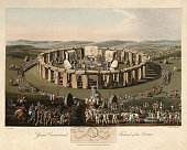 Vintage engraving of Festival of the Britons, Ancient Stonehenge. 1815, The Costume of the Original Inhabitants of the British Islands, by MEYRICK, Samuel Rush and SMITH Charles Hamilton.