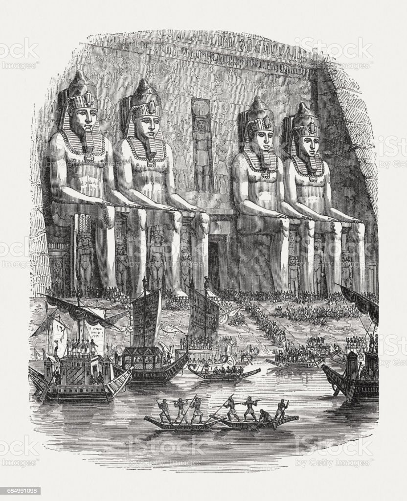 Festival on the Nile river in Ancient Egypt, published 1880 vector art illustration