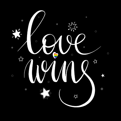 """LGBT festival phrase """"Love wins"""". Concept for pride community. White lettering with multicolored heart, white stars and circles on a white background. Design for t-shirt, card, web, poster, greeting card, flyer."""