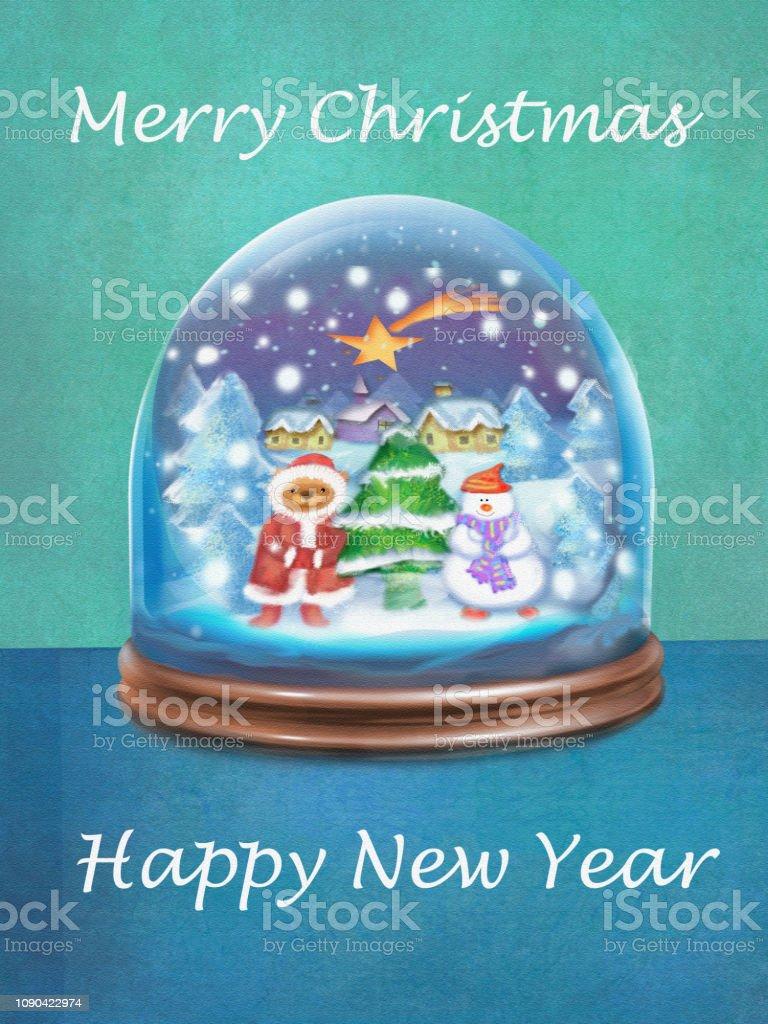 Wünsche Frohe Weihnachten.Festliche Karte Schneekugel Und Wünsche Frohe Weihnachten Und