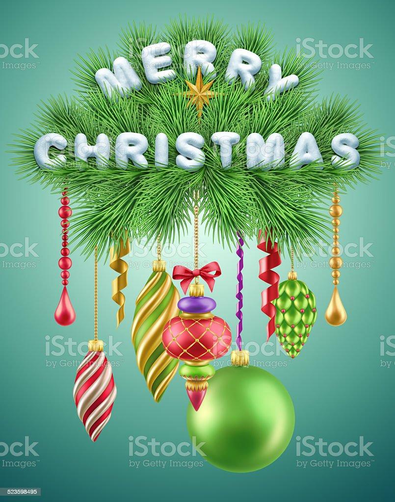 festive titre de noël décoré avec des ballons et décorations de noël