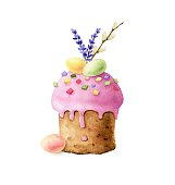 festive easter cake watercolor illustration hand painted close up