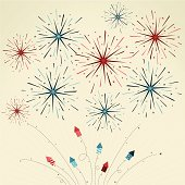 Contemporary styled illustration with patriotic whimsical fireworks and festive rockets. Perfect for patriotic themed messages or exciting events.   AI CS4 file and large jpg included. All elements labeled and organized on separate layers for easy color changes.