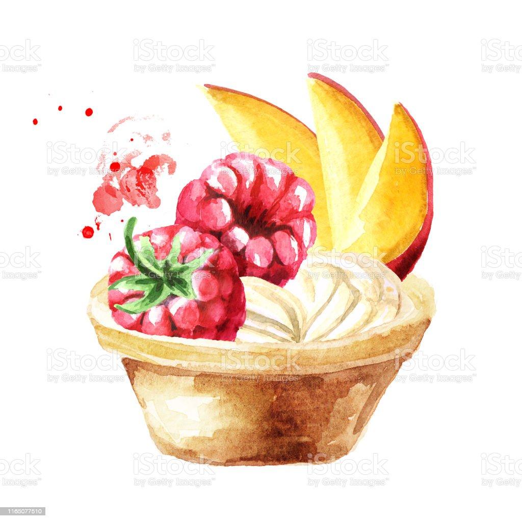 お祝いの食べ物フルーツやベリーとタルト白い背景に隔離された水彩画の手描きイラスト お祝いのベクターアート素材や画像を多数ご用意 Istock