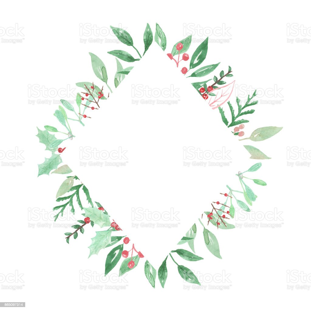 Festive Holly Berries Diamond Frame Leaves Watercolour Stock Vector ...