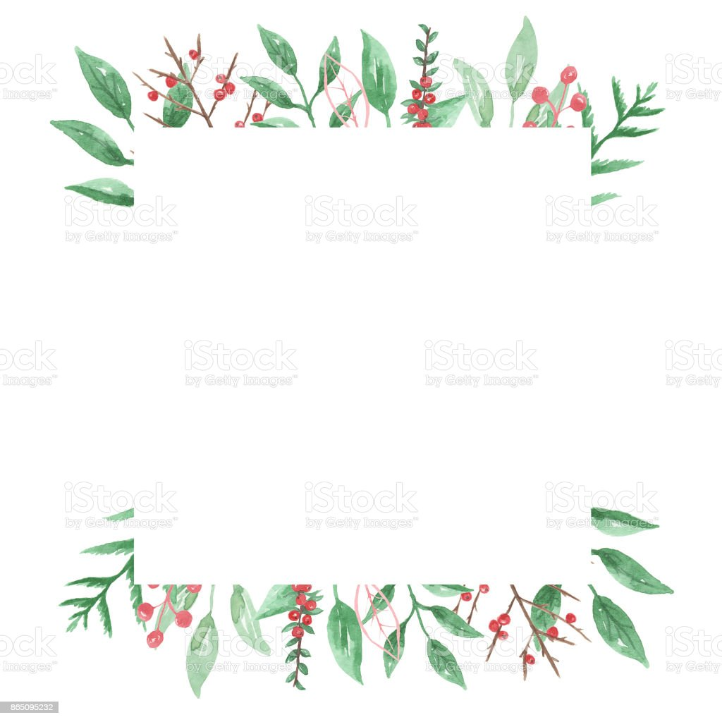 Festive Holly Berries Square Frame Leaves Watercolour Stock Vector ...