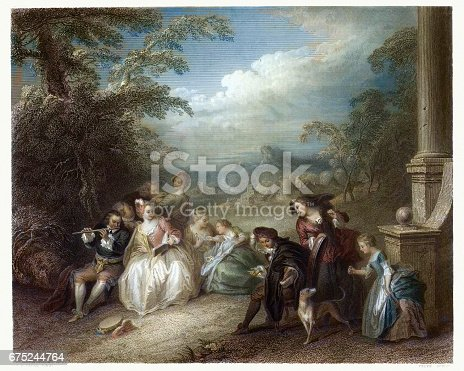 Vintage engraving of Fete Champetre with a Flute Player after the picture by Jean-Baptiste Joseph Pater