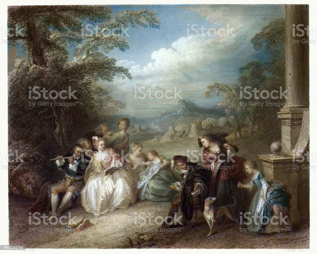 Fete Champetre with a Flute Player c.1720 vector art illustration