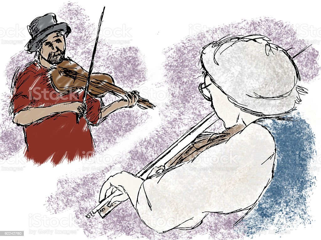 Fiddlers - RASTER illustrations vector art illustration