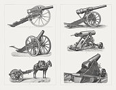 Field guns from 19th century, wood engravings, published in 1897
