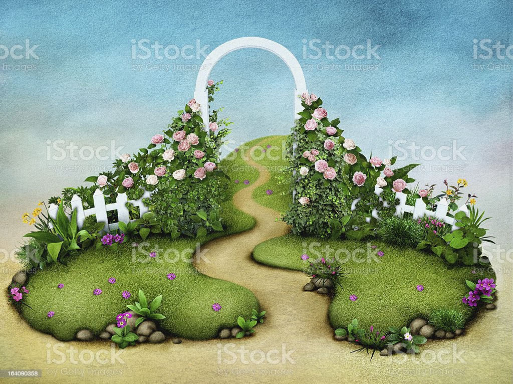 Fields with trellis and flowers vector art illustration