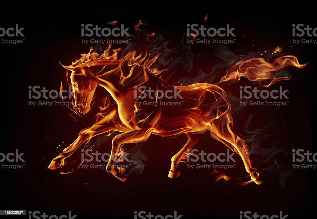 Fiery horse vector art illustration