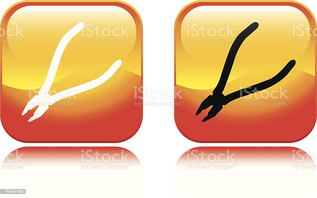 Fiery Pliers Icon royalty-free stock vector art