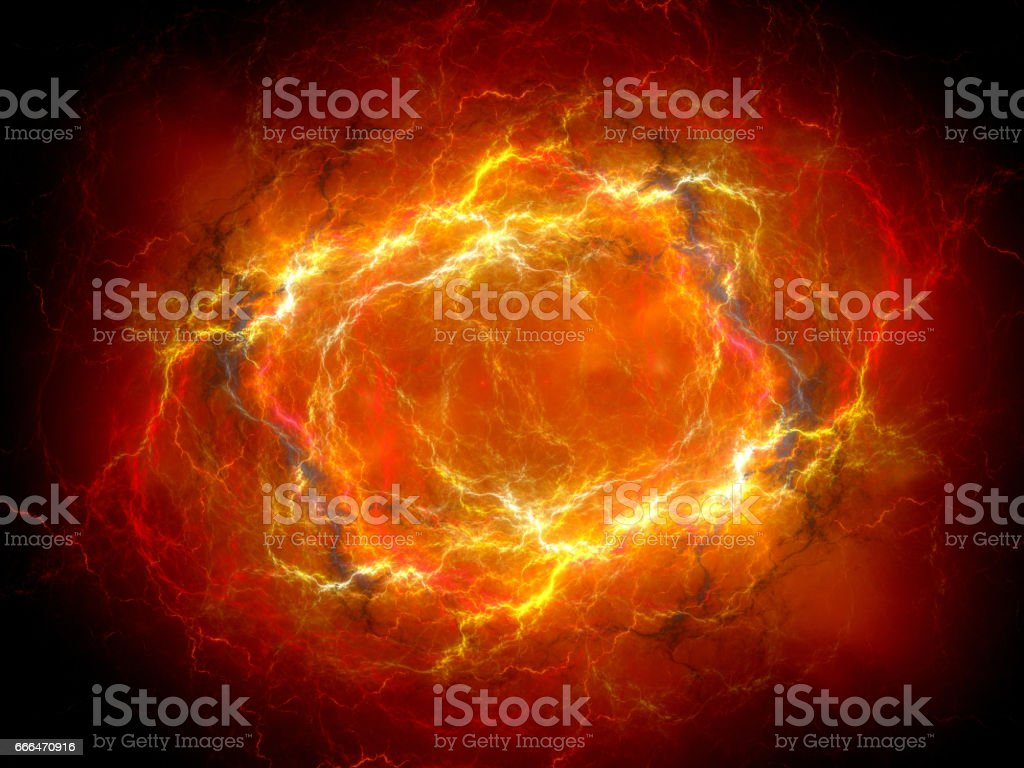 Fiery red glowing plasma lightning in space vector art illustration